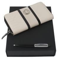 Zestaw portmonetka Pitone Cream + długopis Alceo