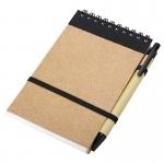 Notes Kraft 90x140/70k gładki z długopisem, czarny/beżowy