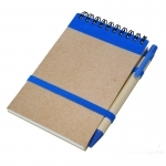 Notes Kraft 90x140/70k gładki z długopisem, niebieski/beżowy