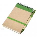 Notes Kraft 90x140/70k gładki z długopisem, zielony/beżowy