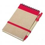 Notes eco 90x140/70k gładki z długopisem, czerwony/beżowy