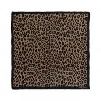 Silk scarf Léopardo Brown-black
