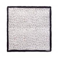 Silk scarf Léopardo White-grey